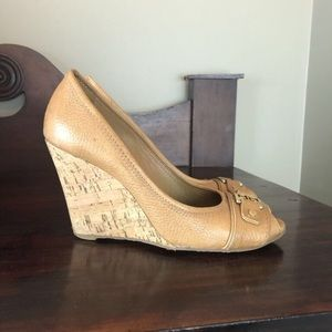 Tory Burch Carnell Open-Toe Wedges 7.5
